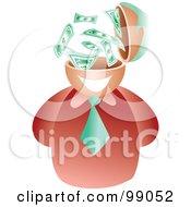 Royalty Free RF Clipart Illustration Of A Businessman With A Dollar Brain by Prawny