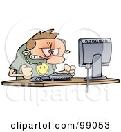 Royalty Free RF Clipart Illustration Of An Angry Computer Support Worker Banging His Fists On His Desk