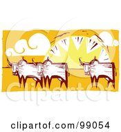 Royalty Free RF Clipart Illustration Of A Herd Of Oxen Against A Sunset