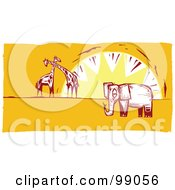 Royalty Free RF Clipart Illustration Of An Elephant And Giraffes Against A Sunset