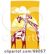Royalty Free RF Clipart Illustration Of Giraffes Cuddling Against An African Sunset