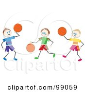 Royalty Free RF Clipart Illustration Of Stick Boys Playing Basketball