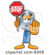 Clipart Picture Of A Magnifying Glass Mascot Cartoon Character Holding A Stop Sign by Toons4Biz