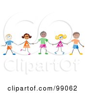 Royalty Free RF Clipart Illustration Of Stick Children Smiling And Holding Hands by Prawny