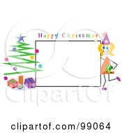 Stick Girl With A Happy Christmas Sign