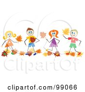 Royalty Free RF Clipart Illustration Of A Group Of Stick People Playing In Autumn Leaves by Prawny