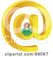 Royalty Free RF Clipart Illustration Of A Businesswoman On A Large At Symbol by Prawny