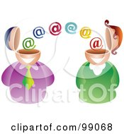 Royalty Free RF Clipart Illustration Of A Business Man And Woman Emailing Each Other by Prawny