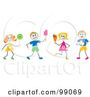 Royalty Free RF Clipart Illustration Of Stick Children With Ice Cream And Candy by Prawny