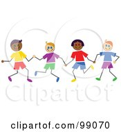 Royalty Free RF Clipart Illustration Of Diverse Stick Boys Holding Hands