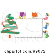 Royalty Free RF Clipart Illustration Of A Stick Boy And Girl With A Christmas Sign