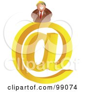 Royalty Free RF Clipart Illustration Of A Businessman On A Large At Symbol by Prawny