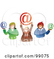 Royalty Free RF Clipart Illustration Of A Group Of Business People Holding Email Symbols by Prawny