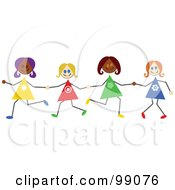 Royalty Free RF Clipart Illustration Of Diverse Stick Girls Holding Hands