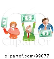 Royalty Free RF Clipart Illustration Of A Business Team Holding Dollars