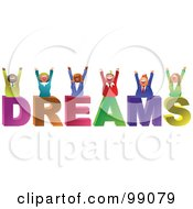 Royalty Free RF Clipart Illustration Of A Business Team Celebrating Over DREAMS