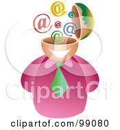 Royalty Free RF Clipart Illustration Of A Businessman With An Email Brain by Prawny