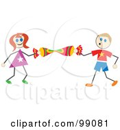 Royalty Free RF Clipart Illustration Of Stick Children Holding A Cracker