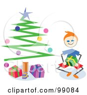 Royalty Free RF Clipart Illustration Of A Stick Boy Opening Christmas Presents By A Tree