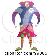 Royalty Free RF Clipart Illustration Of A Male Clown In Colorful Clothing by Prawny