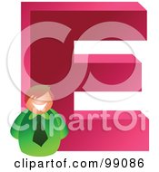 Royalty Free RF Clipart Illustration Of A Businessman With A Large Letter E