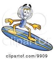 Clipart Picture Of A Magnifying Glass Mascot Cartoon Character Surfing On A Blue And Yellow Surfboard by Toons4Biz