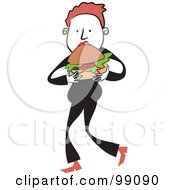 Royalty Free RF Clipart Illustration Of A Man In Black Eating A Hamburger by Prawny