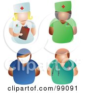 Royalty Free RF Clipart Illustration Of A Digital Collage Of Male And Female Doctors And Nurses by Prawny