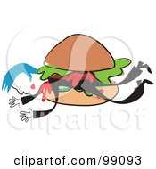 Royalty Free RF Clipart Illustration Of A Man In Black In A Hamburger by Prawny