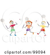 Royalty Free RF Clipart Illustration Of Stick Children Playing Badminton
