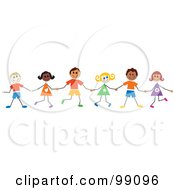 Royalty Free RF Clipart Illustration Of Stick Children Holding Hands And Standing