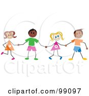 Royalty Free RF Clipart Illustration Of Stick Children Holding Hands