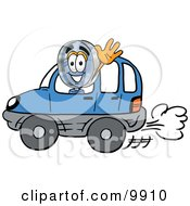 Clipart Picture Of A Magnifying Glass Mascot Cartoon Character Driving A Blue Car And Waving