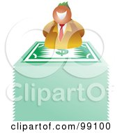 Royalty Free RF Clipart Illustration Of A Business Man On Top Of A Stack Of Banknotes by Prawny