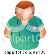 Royalty Free RF Clipart Illustration Of A Male Doctor In Green Scrubs by Prawny