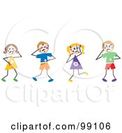 Royalty Free RF Clipart Illustration Of Stick Children With Chicken Pox
