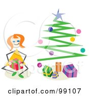 Royalty Free RF Clipart Illustration Of A Stick Girl Opening Christmas Presents By A Tree
