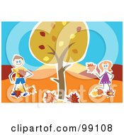 Royalty Free RF Clipart Illustration Of A Stick Boy And Girl Playing With Leaves Under An Autumn Tree by Prawny