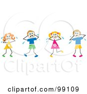 Royalty Free RF Clipart Illustration Of Stick Children Crying