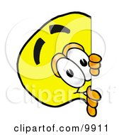 Clipart Picture Of A Light Bulb Mascot Cartoon Character Peeking Around A Corner by Toons4Biz