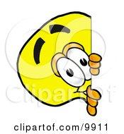 Light Bulb Mascot Cartoon Character Peeking Around A Corner