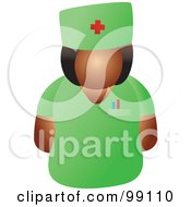 Royalty Free RF Clipart Illustration Of A Female Doctor In Green Scrubs by Prawny