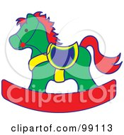 Green Red And Yellow Childrens Nursery Rocking Horse