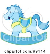Blue And Yellow Childrens Nursery Rocking Horse