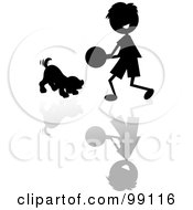 Royalty Free RF Clipart Illustration Of A Silhouetted Stick Boy Playing Ball With A Puppy