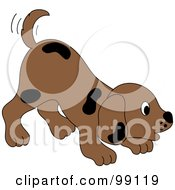 Royalty Free RF Clipart Illustration Of A Brown Puppy Dog With Black Spots Wagging His Tail And Bending Down by Pams Clipart