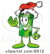 Clipart Picture Of A Rolled Money Mascot Cartoon Character Wearing A Santa Hat And Waving