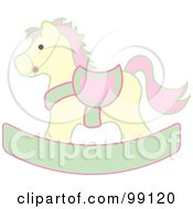Yellow Pink And Green Childrens Nursery Rocking Horse
