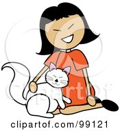 Royalty Free RF Clipart Illustration Of An Asian Stick Girl Petting A Cat