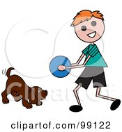 Royalty Free RF Clipart Illustration Of A Red Haired Stick Boy Playing Ball With A Dog